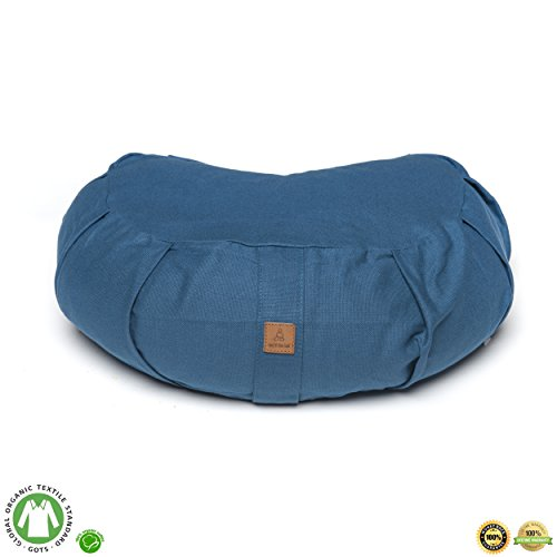Aqua Buckwheat Crescent Therapeutic Meditation Cushion