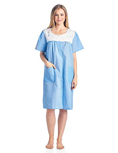 1e09a157a8e2 Casual Nights Women's Short Sleeve Snap-Front Lounger Duster House Dress -  Small - Blue