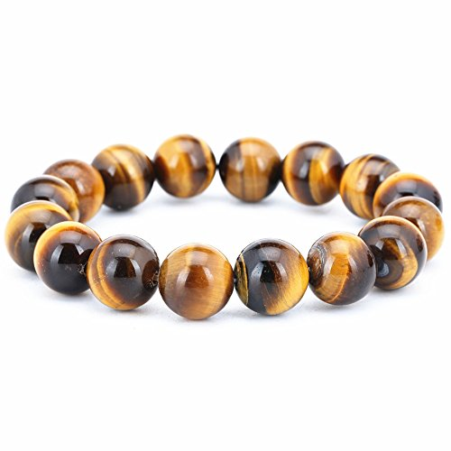 Genuine Natural Colorful Tiger Eye Gemstone Crystal Round Bead Bracelet for Women AAAA 12mm