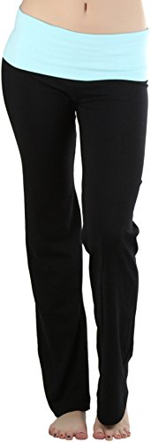 535a9b1504 ToBeInStyle Women's Fold-Over Waistband Semi-Flare Leg Opening Yoga Pants.  Stretch fit. Get the performance pants that actually perform and look super  cute ...