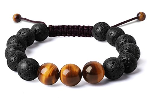 Bella Vida Mens 12mm Natural Lava Stones And Tiger Eye Bead Handmade