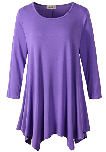 2583fb85247 LARACE Women Plus Size 3/4 Sleeve Tunic Tops Loose Basic Shirt 2X, Violet