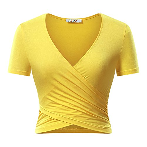 8ba7e66e1f7cb Great for any workouts and hot weather. Kira women s deep v neck long sleeve  unique cross wrap slim fit crop Tops Product Information Brand Name  KIRA  ...