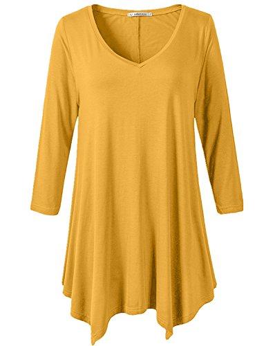 271b75e1208 JollieLovin Womens Plus Size 3 4 Sleeve Loose-fit T Shirt for Leggings Tunic  Top Yellow