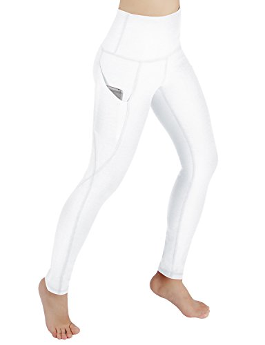 86ed7a6dac8586 ODODOS High Waist Out Pocket Yoga Pants Tummy Control Workout Running 4 way  Stretch Yoga Leggings,White,Medium. Perfect for yoga, any type of workout,  ...