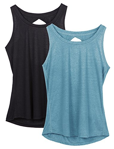 3b10f55aa3ea4 icyzone Yoga Tops Activewear Workout Clothes Open Back Fitness Racerback Tank  Tops For Women M