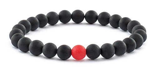 f28b0fd8525f1 Mens Bracelet Beads Matte Black Onyx and Red Semi Precious Natural ...