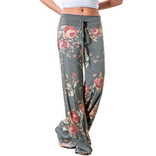 Womens Fold Over High Waist Wide Leg Long Palazzo Pants Comfy Chic Bohemian Printed Lounge Beach Pants