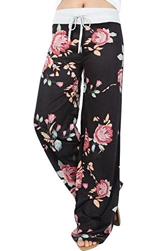 f85c3c0463 EIFFTER Women s High Waist Casual Floral Print Drawstring Wide Leg Pants