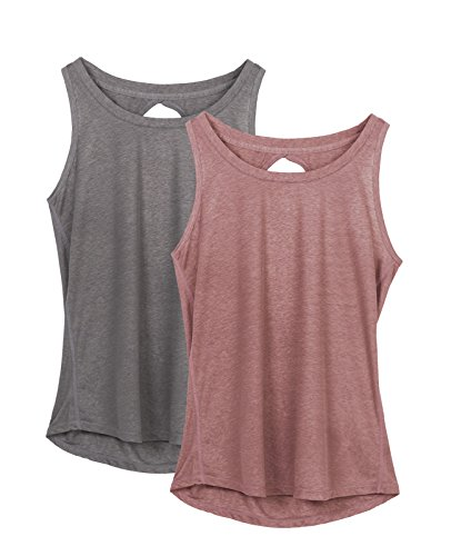 d949b619c3 icyZone Yoga Tops Activewear Workout Clothes Open Back Fitness Racerback Tank  Tops for Women