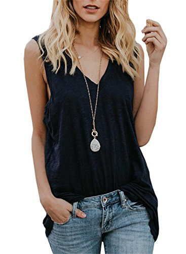 c921c669197cb Gemijack Womens Tank Tops V Neck Sleeveless Casual Summer Loose Fit Cotton  Long Tunic Shirts