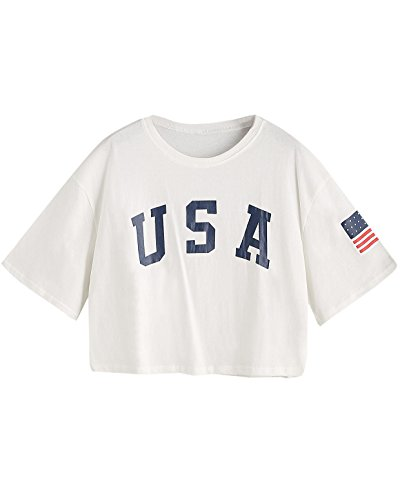 26d9c90e0d6 American flag letter print drop Shoulder Tee Size Chart: S:Shoulder:16.  5inch, Length:205inch, sleeve Length:8. 3inch, Bust:37. 8-41.