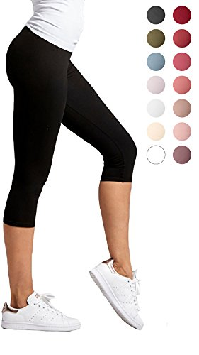 ea63650b4aff36 Basic solid plain high quality Capri Cropped Leggings / One Size Fit, Super  Stretch. Whether youÕre running errands or in a tricky yoga pose, ...