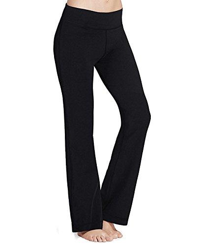 1ace61707267a PhiFA Women's Bootleg Athletic High Waist Running Yoga Pants Inner Pocket  Black Size S