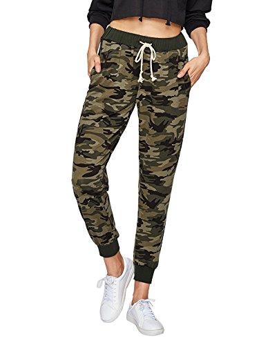 Sweatyrocks Pants S Casual Jogger Tie Camo Yoga Women Waist 4rHw4P