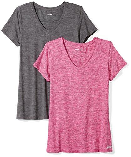 73b97156fecbb Amazon Essentials Women s Standard 2-Pack Tech Stretch Short-Sleeve V-Neck  T-Shirt