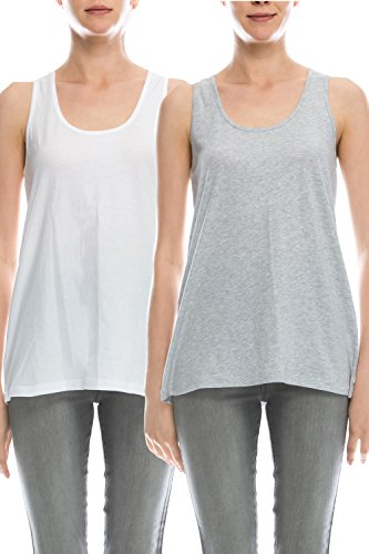 0956978f5249f EttelLut Loose Fit Relaxed Flowy Knit Tank Top  workout jersey sexy cheap  pack White Gray XL