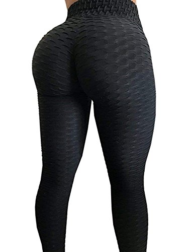 High Waist Yoga Pants Stretchy Tummy Control Workout Ruched Butt Lift Tights Womens Scrunch Butt Lifting Leggings