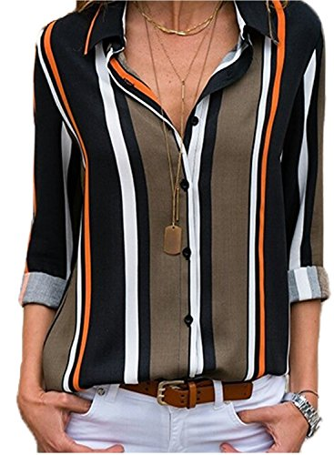 50de0fd849c8 Astylish women casual cuffed long sleeve button up v neck tunic shirts tops  size suggestion sus4-6