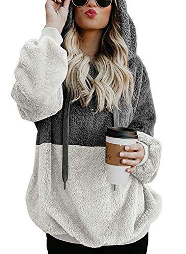SENSERISE Womens Crewneck Camo Print Long Sleeve Sweatshirts Loose Fit Color Block Pullovers Tops