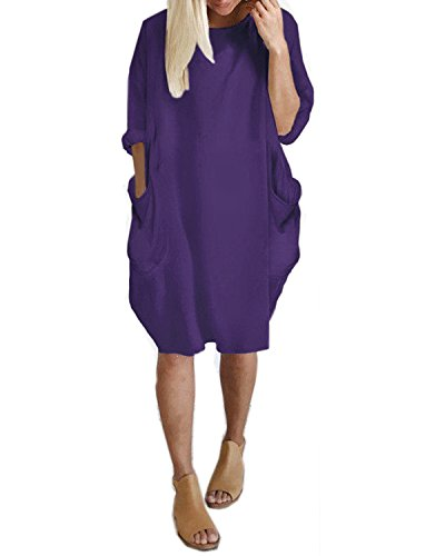 14ab7d04dfabf Kidsform Women Oversize Dress Long Sleeve Solid Loose Shirt Mini Short  Dress With Pocket Purple 2XL