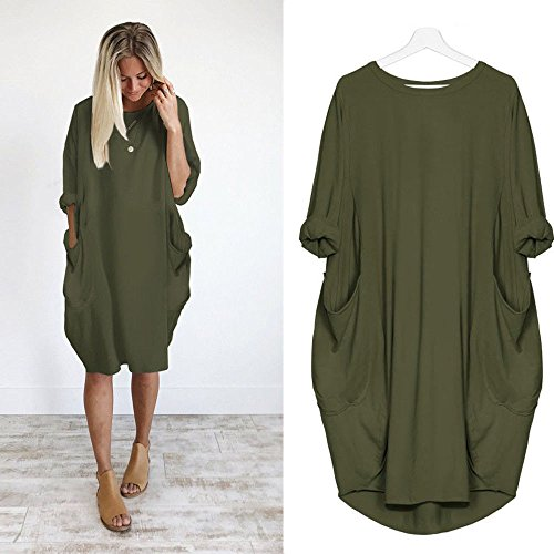 0acdba4594b06 Franterd Womens Pocket Loose Dress, Ladies Plus Size Casual Long Tops Dress  Extra Large, Army Green