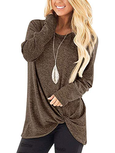 9e8ad16c999482 SAMPEEL Womens Girls Solid Women Basic T Shirts Long Sleeve Tunic Tops  Sweatshirt Coffee M