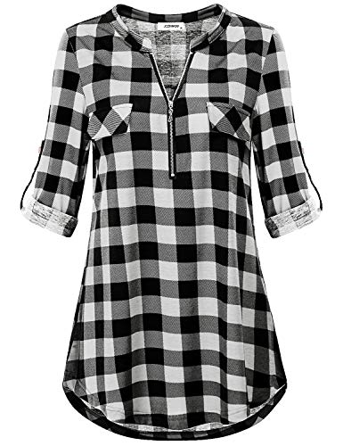 eef73b88fa4 Fashioned in soft and lightweight woven fabric, this plaid blouse top  provides a relaxed look in an vibrant color. Add this comfortable work shirt  to your ...