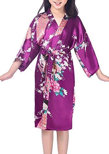 1869f2030c Admireme Girls  Peacock Satin Kimono Robe Bathrobe Nightgown for Spa Party  Wedding Birthday
