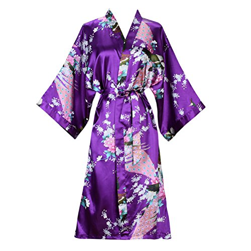 SexyTown Women s Long Floral Peacock Kimono Robe Satin Nightwear ... 42cd2dd71