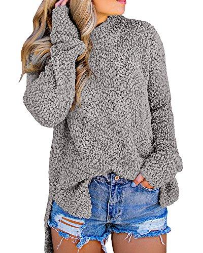 767e92bc91b1d Imily Bela Womens Fuzzy Knitted Sweater Sherpa Fleece Side Slit Full Sleeve  Jumper Outwears