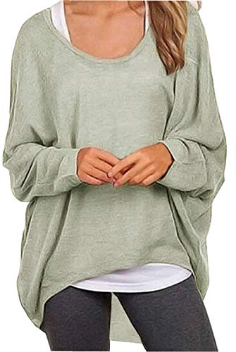 3e649eebb145b UGET Women s Sweater Casual Oversized Baggy Off-Shoulder Shirts Batwing  Sleeve Pullover Shirts Tops Asia M Gray