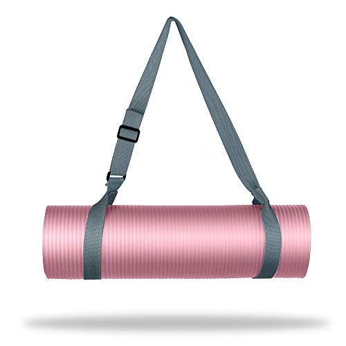 Wehe Yoga Strap Mat Strap Sling With Adjustable Buckle Carrying Strap In Standard Extra Long 86 Durable Cotton Exercise Yoga Mat 10 Colors Available Odor Resistant Gray Foldbold