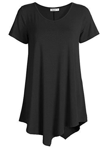 eadb090a42a Esenchel Women s V-Neck Swing Shirt Casual Tunic Top for Leggings