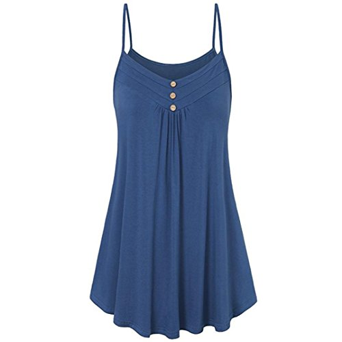 Nadition Womens Fashion V-Neck Button Decor Flare Short Sleeve Tunic Tops Casual Solid Ruched Summer Swing Tank Tops Blouse