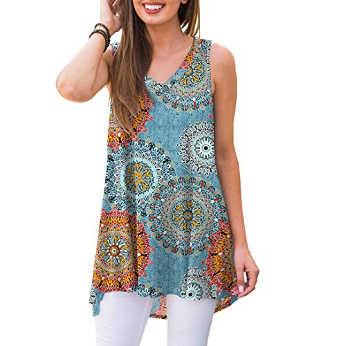 f2495260f9 AWULIFFAN Women's Summer Sleeveless V-Neck T-Shirt Short Sleeve Sleepwear  Tunic Tops Blouse Shirts Flower Multiple Blue,L