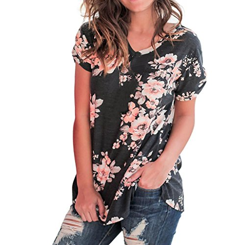 Cewtolkar Women Plus Size Tops Floral Print Blouse Off Shoulder Tees Sling Tunic Bandage T Shirt Short Sleeve Top