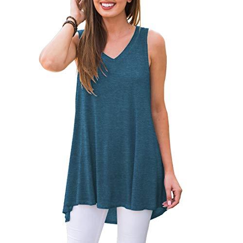 Usstore  Women Mini Dresses Loose Dragonfly Print Short Sleeve Summer Popular V-Neck Shift Daily Dress Beach Tunic Shirt