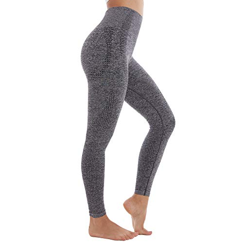 Women Seamless Fitted Leggings Control Pants Small Medium Brown Soft Workout
