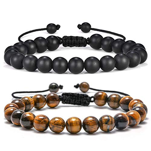 769a8a52f38 8mm Tiger Eye Black Matte Agate Mens Anxiety Bracelets, Stress Relief Yoga  Beads Adjustable Bracelet Dad GITS Father's Gifts Grandpa Gifts for Men – M  ...