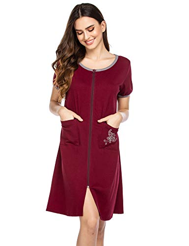 Ekouaer Zipper Front Housecoat Short Sleeve /& Half Sleeve Zip Nightgown Long Houedress with Pockets